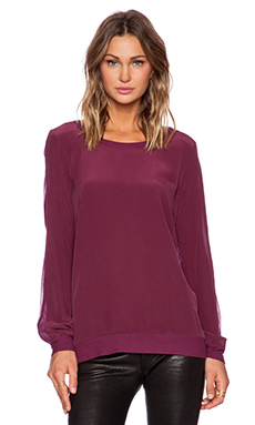 Chaser Silk Basic Long Sleeve Panel Pullover in Chambord