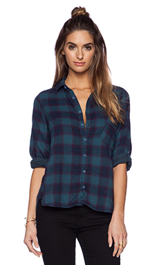 CP SHADES Jay Plaid Button Up in Navy
