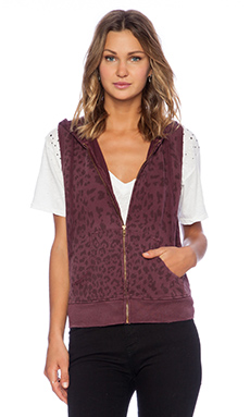 Current/Elliott The Sleeveless Zip Hoodie in Garnet Leopard