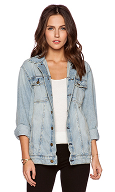 Current/Elliott The Oversized Trucker Jacket in Sealine