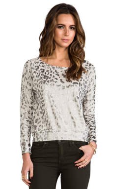 Current/Elliott The Letterman Sweatshirt in Light Grey Metallic Leopard