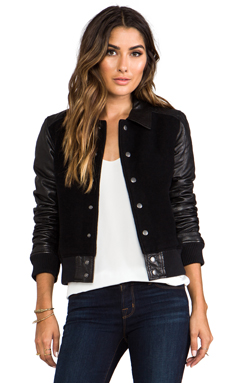 Current/Elliott The Varsity Jacket in Black