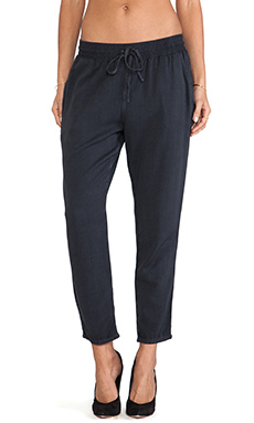Current/Elliott The Drawstring Trouser in Washed Black