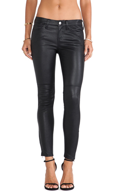 Current/Elliott The Prospect Leather Skinny in Washed Black