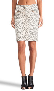 Current/Elliott The Soho Zip Pencil Skirt in Stone Leopard