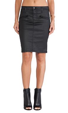 Current/Elliott The Soho Zip Pencil Skirt in Black Coated