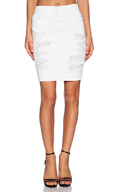 Current/Elliott The Stiletto Pencil Skirt in White Tattered