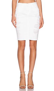 Current/Elliott The Stiletto Pencil Skirt in White Tattered