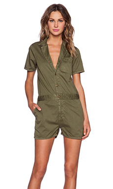 Current/Elliott The Engineer Romper in Army Green