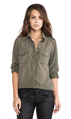 Current/Elliott The Perfect Shirt in Army Green w/ Studs