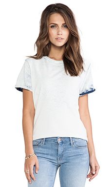 Current/Elliott The Rolled Sleeve Crew Tee in White Wash