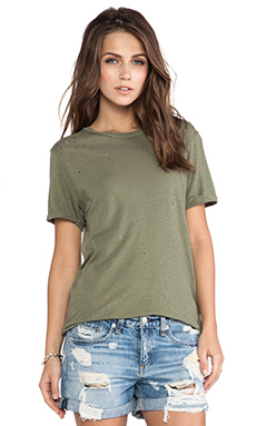 Current/Elliott The Rolled Sleeve Crew Tee w/ Studs in Army Green