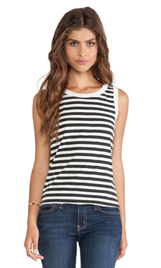 Current/Elliott The Muscle Tee in Black & White Stripe