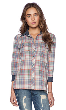 Current/Elliott The Perfect Shirt in Pinksy Plaid