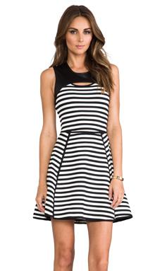 Cut25 by Yigal Azrouel Bold Stripe Techno Dress in Jet Multi