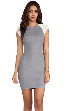 Cut25 by Yigal Azrouel Techno Honeycomb Fitted Dress in Medium Heather Grey