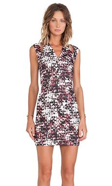 Cut25 by Yigal Azrouel Cutout Shoulder Printed Scuba Dress in Port Multi
