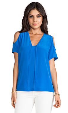 Cut25 by Yigal Azrouel Open Shoulder Center Insert Top in Cobalt