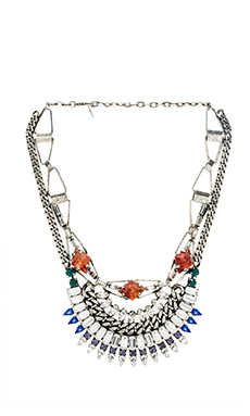 DANNIJO Yasmina Necklace in Silver & Crystal & Italian Amber