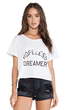 DAYDREAMER Hopeless Dreamer Thrashed Crop Top in Cream