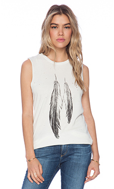 DAYDREAMER Feathers Tank in Cream
