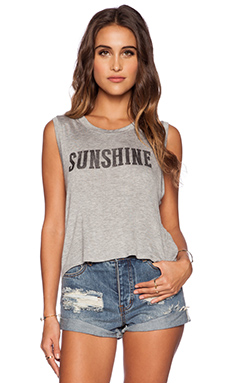 DAYDREAMER Sunshine Muscle Tank in Heather Grey