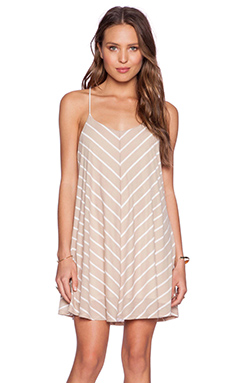 De Lacy Sybil Stripe Mini Dress in Taupe