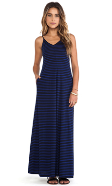 DemyLee Sailor Stripe Annabelle Maxi Dress in Navy & Marine