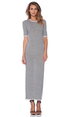 DemyLee Stripe Enya Dress in Light Heather Grey & Navy