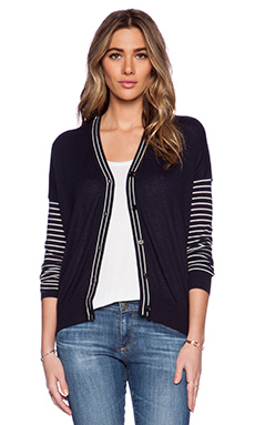 DemyLee Maya Cardigan in Navy & White