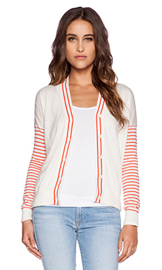 DemyLee Maya Cardigan in White & Red