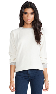 DemyLee Finn Cashmere Colorblock Pullover in White/Light Heather Grey