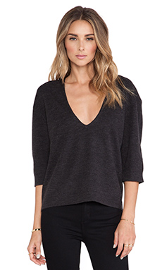 DemyLee Lexis Low Back Short Sleeve Sweater in Charcoal