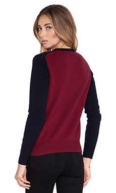 DemyLee Madison Cashmere Sweater in Navy/Burgundy