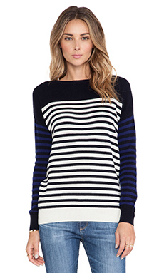DemyLee Ella Cashmere Sweater in Navy/White/Ink