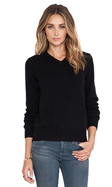 DemyLee Morgan V Neck Cashmere Sweater in Black