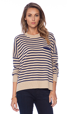 DemyLee Stripe Bennie Sweater in White & Navy