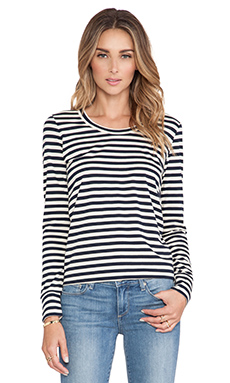 DemyLee Stripe Dani Long Sleeve Tee in Navy/Natural