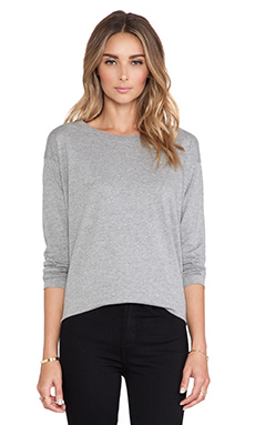 DemyLee Sawyer Long Sleeve Tee in Heather Grey