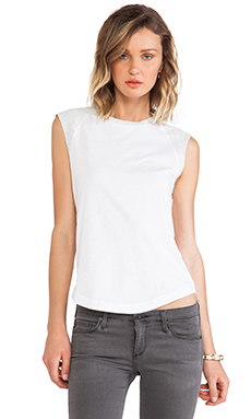 DemyLee Alessandra Tee in White & Light Heather Grey