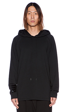 D. Gnak D by D Side Zipper Hoodie in Black