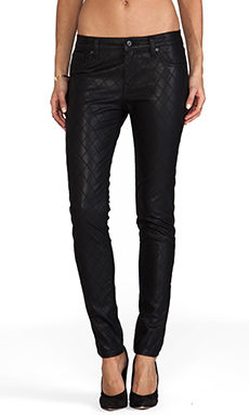 D-ID Faux Leather New York Skinny in Quilted Rinse
