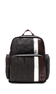 Diesel Blue in Denim Parakute Backpack in Blue/ Dark Brown