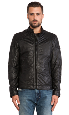 Diesel Laleta Leather Jacket in Black