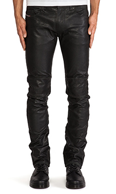 Diesel Thavar-Dest Leather Pant in Black