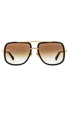 Dita Mach-One Sunglasses in Shiny 18K Gold & Brown Lenses
