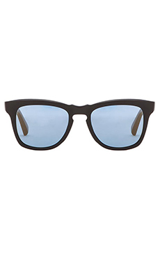 Dita Cuidad Sunglasses in Matte Black & Blue Mirror Lenses