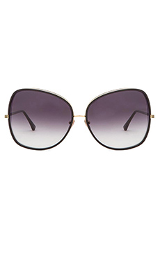 Dita Bluebird-Two Sunglasses in Black & Shiny 18K Gold with Grey to Clear
