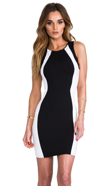 David Lerner Sleeveless Colorblock Mini Dress in Black & White