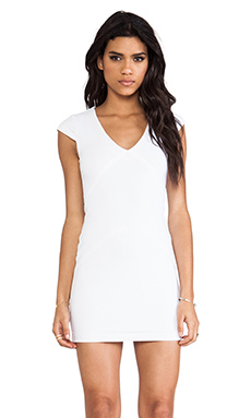 David Lerner Seamed Dress in White